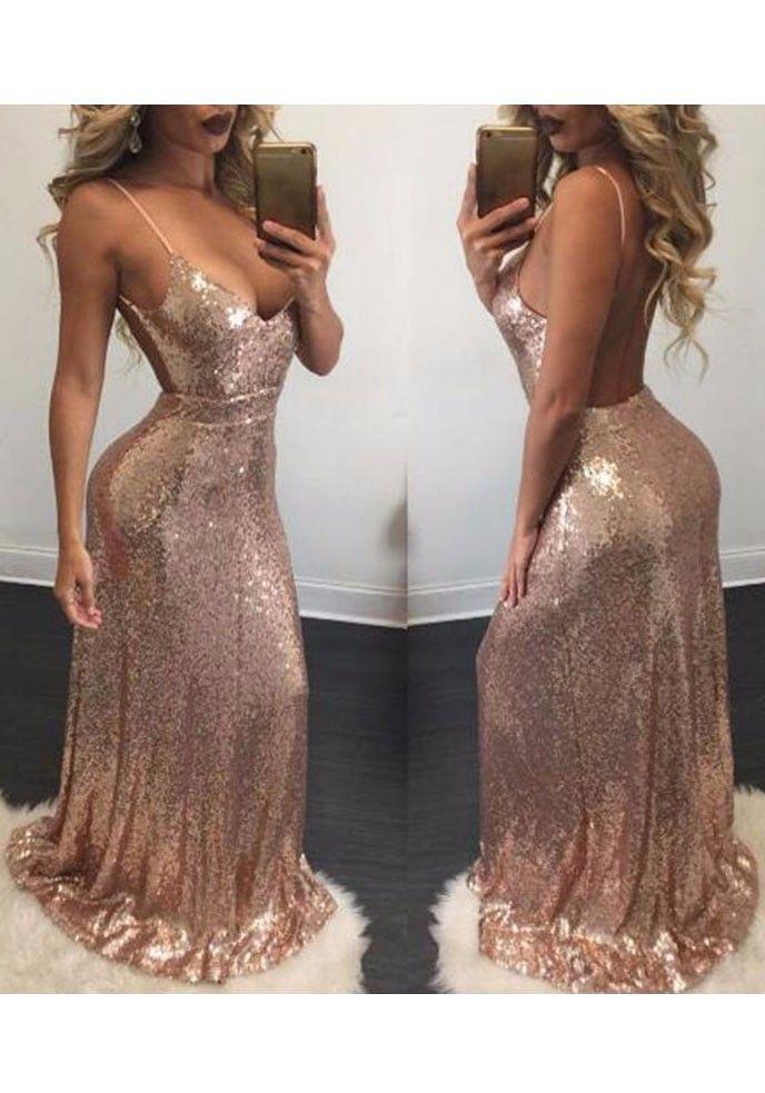 Rose Gold Draped Sequin Backless Spaghetti Strap Deep V-neck Bridesmaid Party  Maxi Dress 62f8a22b55b6