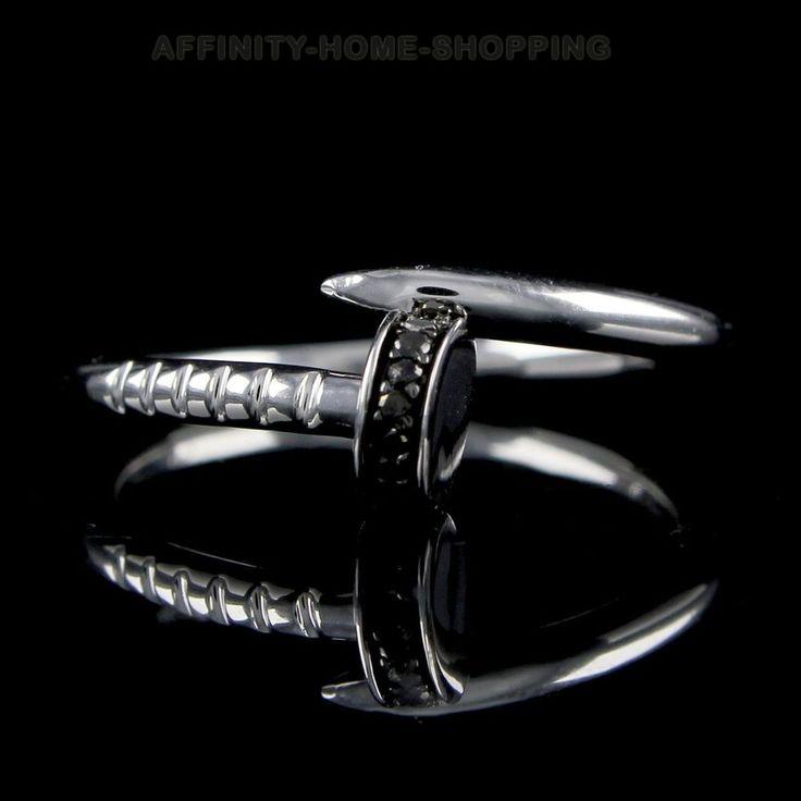 White Gold Finish Black Diamond Fashion Promise Ring Sterling Silver 925 #AffinityHomeShopping #FashionRing