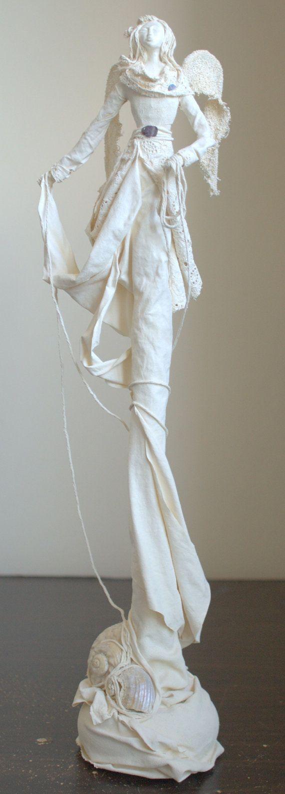 Caitlyn angel sculpture original handmade gift home by SeaMessage