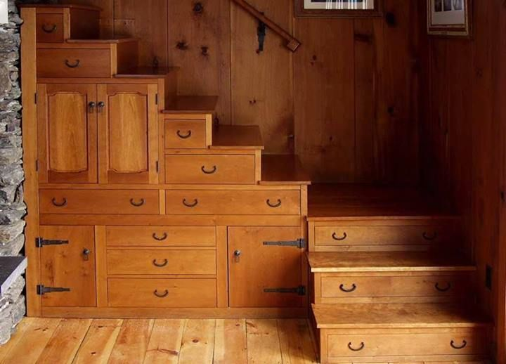 amazing storage, great for small cabin...if I had stairs I would want them to look like this!!