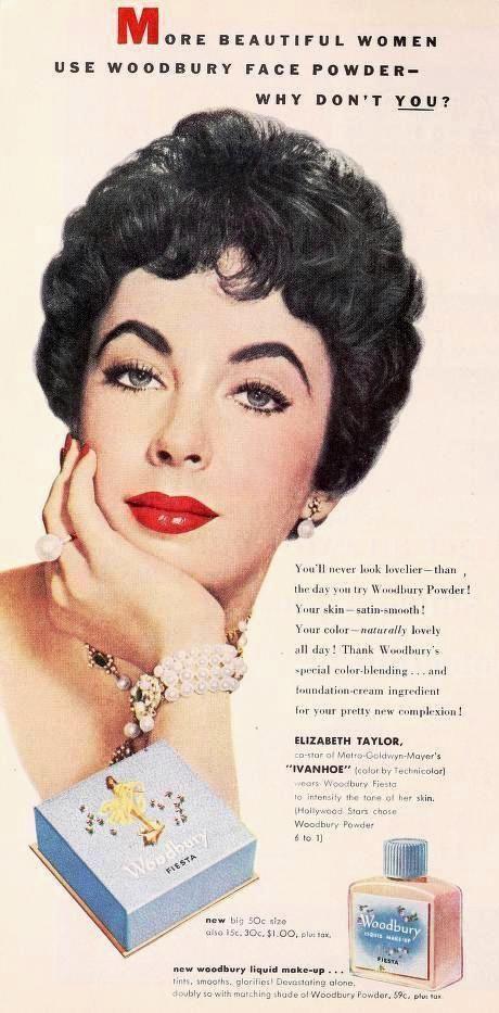 Elizabeth Taylor advertising for Woodbury Liquid Makeup 1952