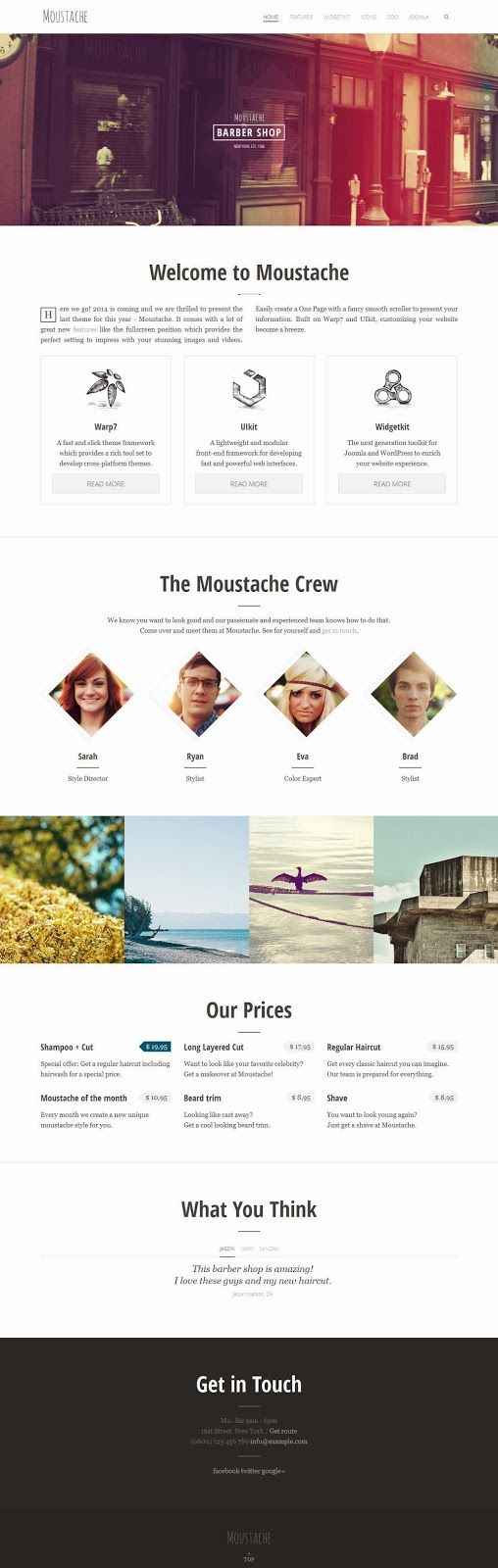 It's the end of the year and the holidays bring you our new theme: Moustache! So lean back, twirl those whiskers and enjoy our latest trim. Because the clean, flat, slightly retro inspired design of Moustache has everything you need to give your portfolio or company website a beautiful makeover.