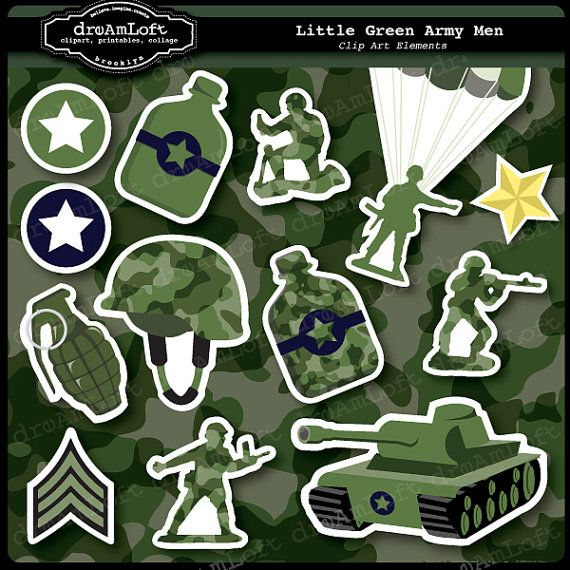 Clipart for army  theme birthday party
