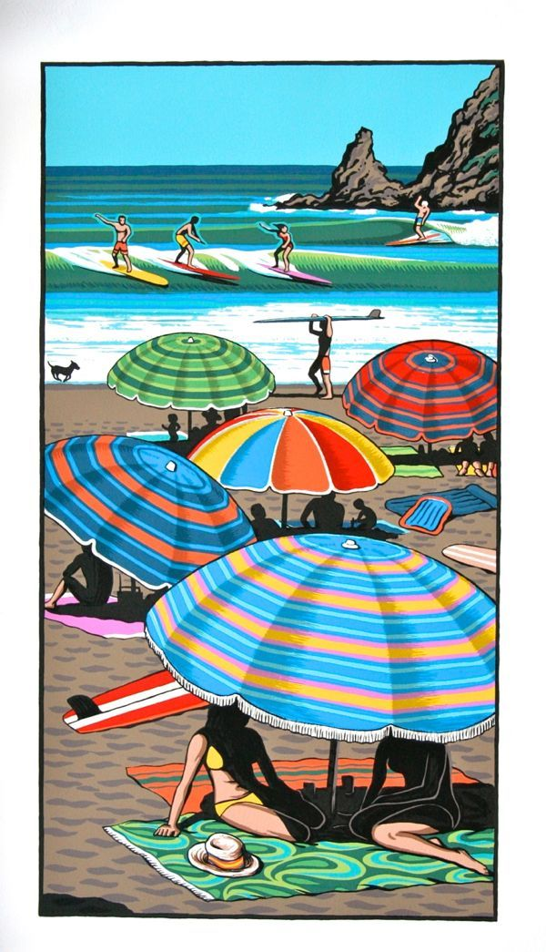 "A New Zealand Christmas - summed up with the sun, the beach, and surfing! ""Coastal Carnival"" LIMITED EDITION OF 250 290x530mm"