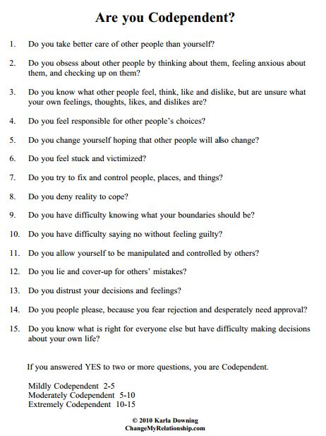 the codependent relationship questionnaire
