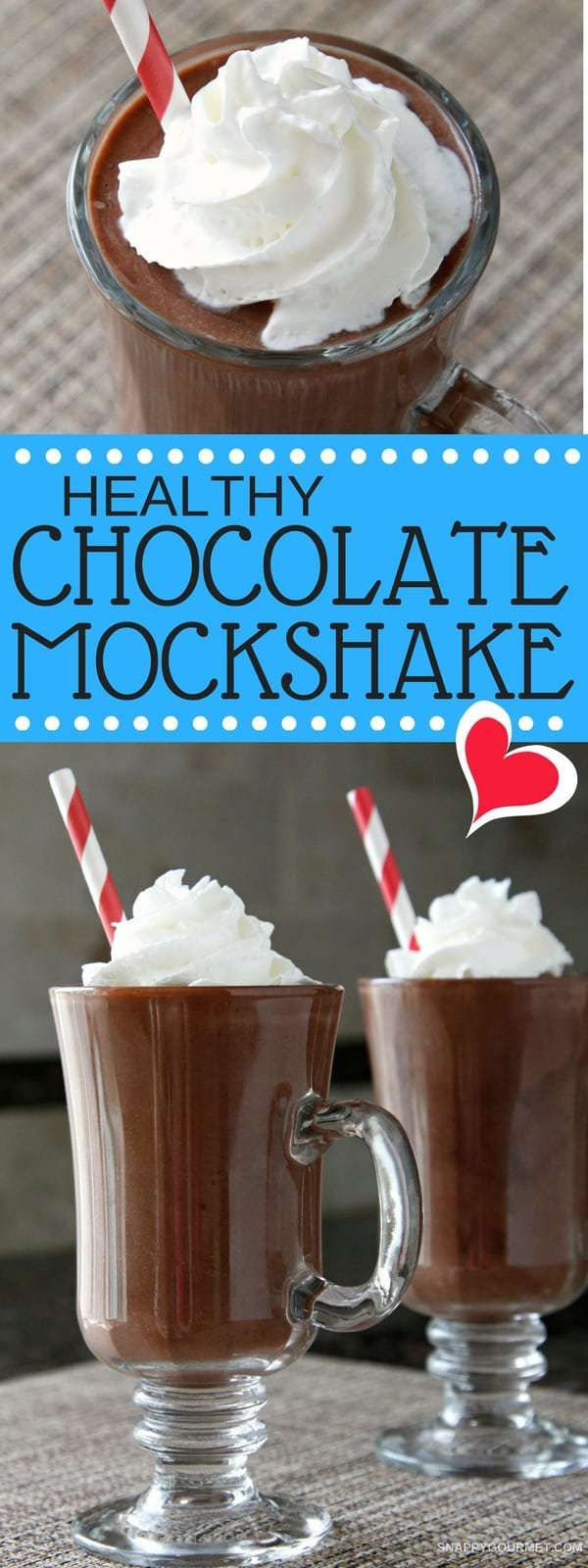 Healthy Chocolate Mockshake - easy chocolate milkshake recipe without milk or ice cream! SnappyGourmet.com