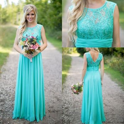 A266 tank chiffon long prom dresses, blue bridesmaid dresses, sleeveless long prom dresses