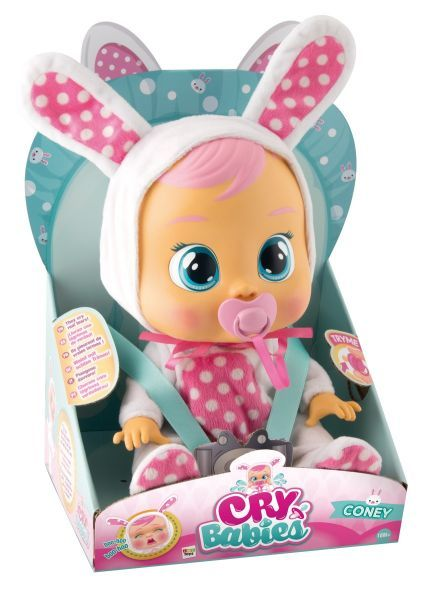 Cry Babies Coney - BR528 Descrição Essa boneca *super fofa chora lágrimas de verdade!* Basta tirar a chupeta da boca dela que ela chora cada vez mais alto e não pára até ganhá-la de volta! Brincar de boneca irá ficar muito mais divertido c...