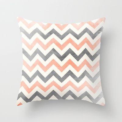 Peach grey #chevron Throw #Pillow by Mercedes - $20.00 #home
