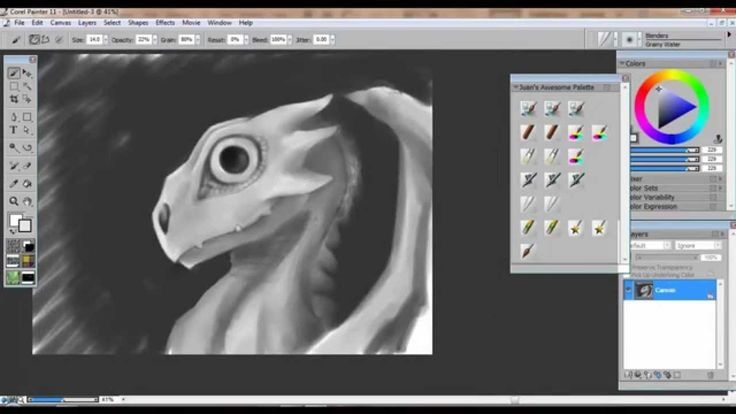 How to Draw & Paint a Baby Dragon - Corel Painter & Wacom Intuos 3 (Pa...