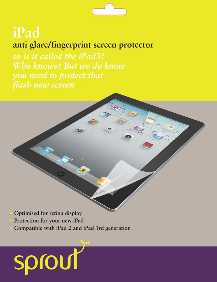 Ipad Screen Protector Anti Glare Anti Fingerprint. One of the simplest yet most important items we sell.  Keep your iPad screen fingerprint free and in perfect condition with the long lasting Sprout screen protector pack.   Containing two of our screen protectors, a squeegee and a cloth for installation this item is a one stop shop for your screen protector needs. #sprout #screenprotector #safe #protection #apple #ipad
