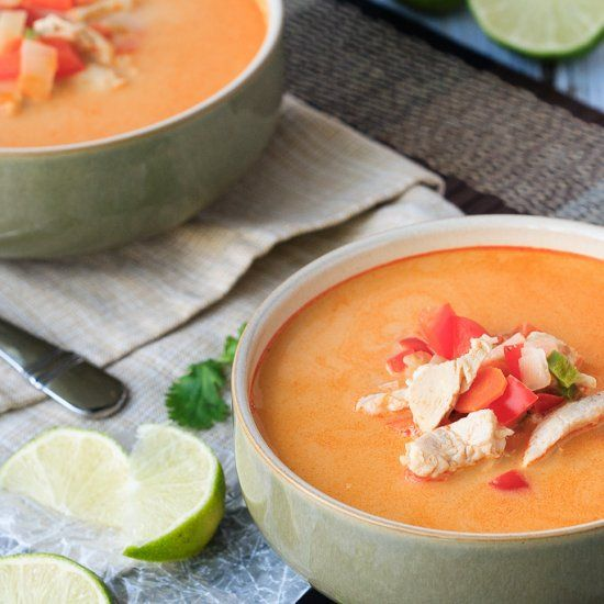 Easy to make and ready in 30 minutes, this Thai chicken and vegetable soup is the perfect dinner! 30 Minute Thursday