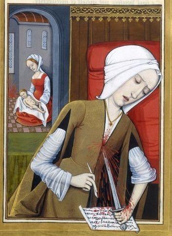 Robinet Testard, Suicide de Canacé. Miniature extraite des Epistres d'Ovide (Héroïdes), 1496-1498.