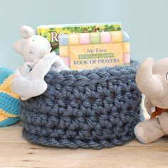 Baskets are great for keeping things organized ... crochet up this FREE Chunky Crochet Basket Pattern to store books toys or any other items you want to corral ... #crochet #fiber