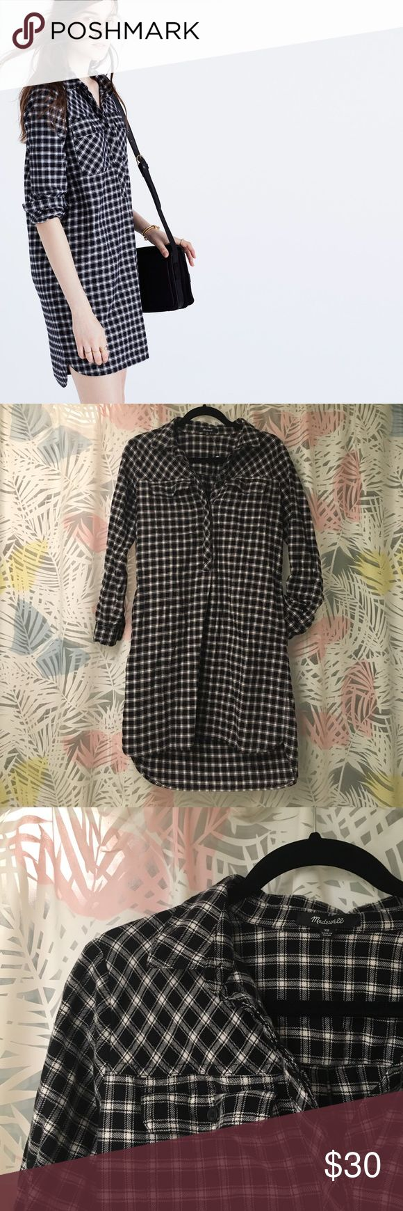 Madewell flannel shirt dress Warm but lightweight flannel shirt dress with pockets! Hem is slightly lower in the back which provides coverage. Sleeves can be rolled up. Can be unbuttoned to mid-chest. Never worn, but washed once. Madewell Dresses Long Sleeve