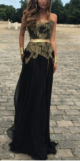 Black and gold gown.