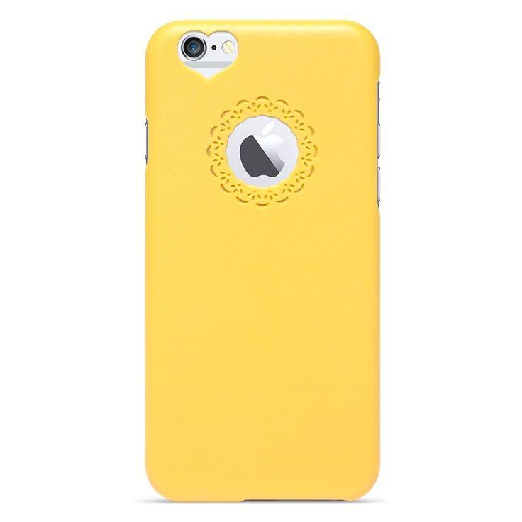 Kryt se srdcem a květinou pro iPhone 6 žlutý #AllCases.cz #kryt #case #iphone #iphone6