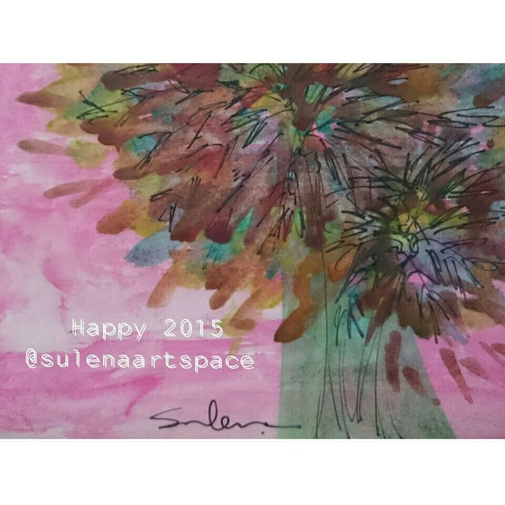 Happy new year 2015 Watercolor painting  on paper