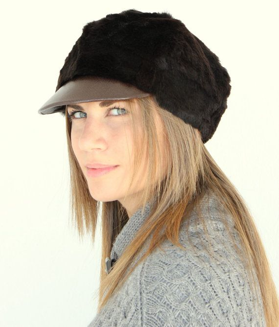 Stylish and Cozy brown winter hat-cap made with rabbit fur
