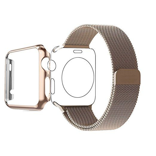 Apple Watch Band, Biaoge Steel Milanese Loop Replacement Wrist Band with Plated Case for Apple Watch 42mm Series 1 only(2015) (Match For Apple Watch Sport Gold 42mm) - Champagne Gold