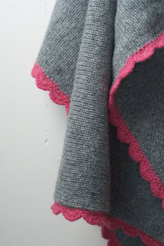 Knitted Wool Baby Blanket, Grey and Pink Lambswool