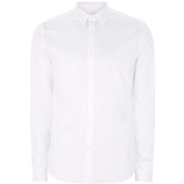 TOPMAN White Premium Slim Fit Shirt (215 MYR) via Polyvore featuring men's fashion, men's clothing, men's shirts, slim fit mens clothing, mens white long sleeve shirt, mens longsleeve shirts, mens slim fit shirts and mens collared shirt