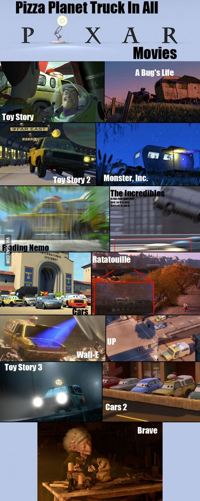 9GAG - Pizza Planet Truck In All Pixar Movies