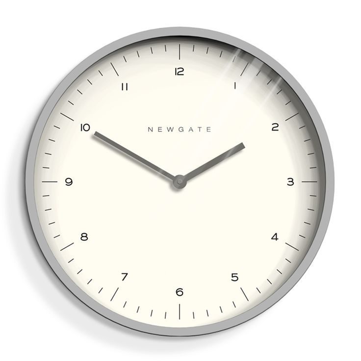 A modern matte grey wall clock with a minimalist dial and linear metal hands.