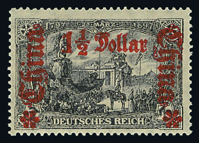 "German Post China 1 1/2 Dollar on 3 Mk., war issue in perforation ""B"", overprinted value to the right in overprint color ""dark vermilion"", mint never hinged i..."