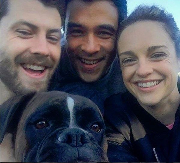 Three-quarters of Home And Away's Morgan family and their on-screen pet. Cute!!