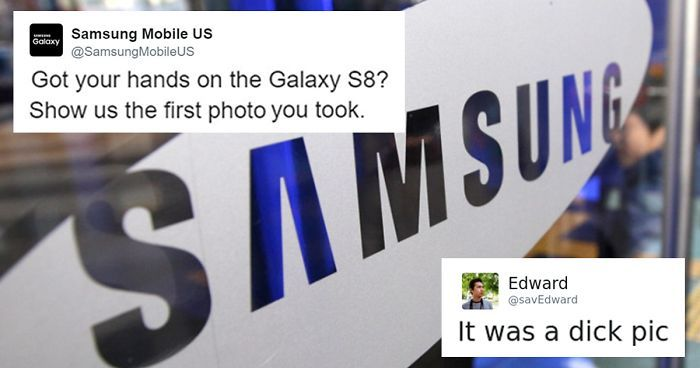 Samsung Just Destroyed A Guy's Dick Pic Joke With A Single Emoji | Bored Panda