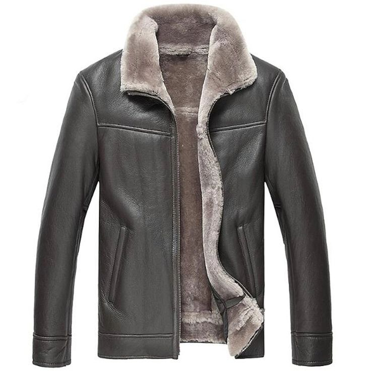 Men's Genuine Leather Outerwear Men's Shearling Jacket Sheep Leather Flight Jacket Pilot Leather Jacket Coat