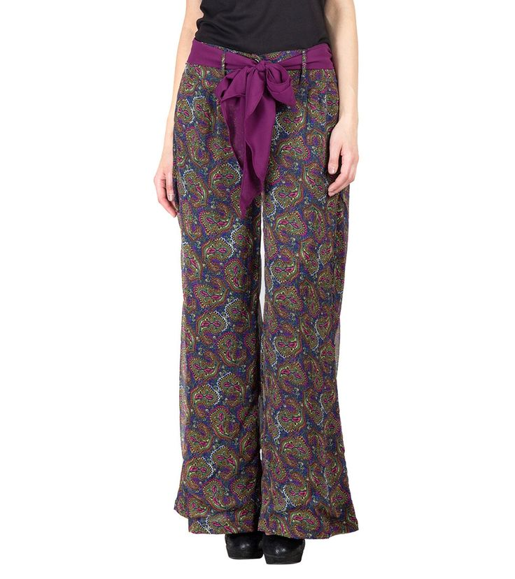 Multicoloured Georgette Printed Straight High Waist Palazzos #indianroots #fusionwear #palazzos #georgette #printed #summerwear #casualwear