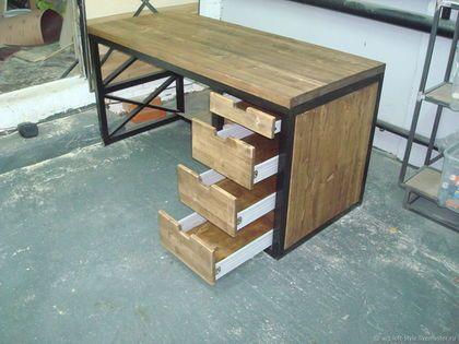 Купить или заказать Письменный стол loft industrial в интернет-магазине на Ярмарке Мастеров. Письменный стол в стиле loft industrial. Стильный стол станет украшением любого, самого изысканного пространства лофт. Этот письменный стол отличный подарок к началу учебного года. Производим письменный стол в стиле лофт Москве, свяжитесь с нами, если Вам нужен стол в стиле лофт. Стол в стиле loft industrial, это тонкий стиль и сверхпрочность. Купить и заказать письменный стол в стиле лофт в нашем…