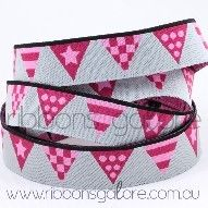 bunting flags ribbon | red/pink (15mm wide) [per metre]