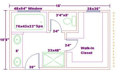 bathroom and closet floor plans | ... Free 10x18 Master Bathroom Addition Floor Plan with Walk-in Closet