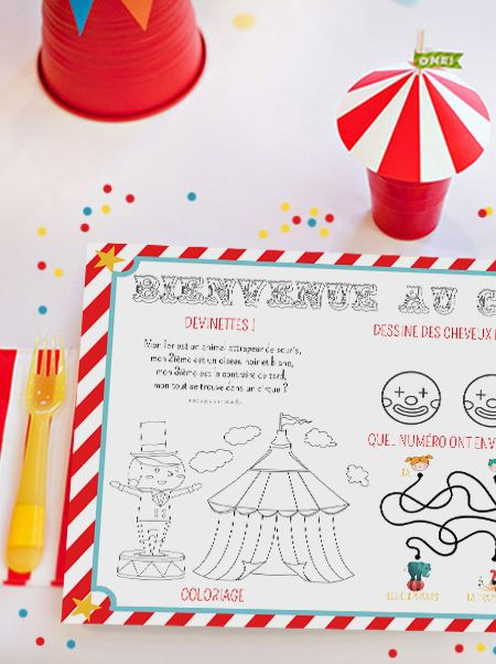 Imprimez votre set de table pour un anniversaire cirque ! Il amusera les enfants et décorera la table du goûter par la même occasion. Le set de table pour enfant à imprimer est une idée simple mais tellement pratique !