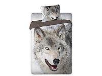Pościel z wilkiem, ślicznym puszystym o dzikim spojrzeniu pełnym spokoju i opanowania