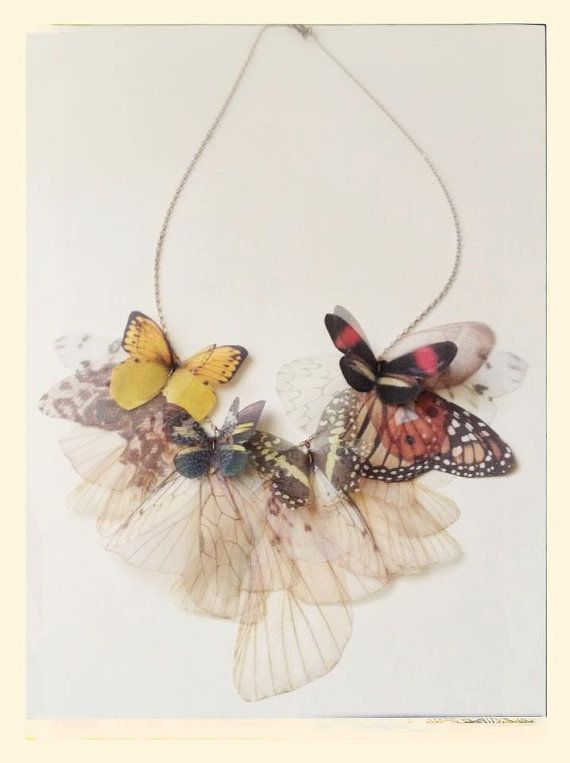 NEW Fluttery Butterfly Necklace in FALL colors Made to di jewelera, $150.00