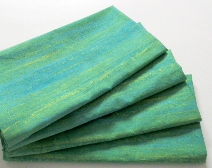 Large Cloth Napkins - Set of 4 - Green Blue Yellow Stripes - Dinner, Table, Everyday, Wedding by ClearSkyHome on Etsy