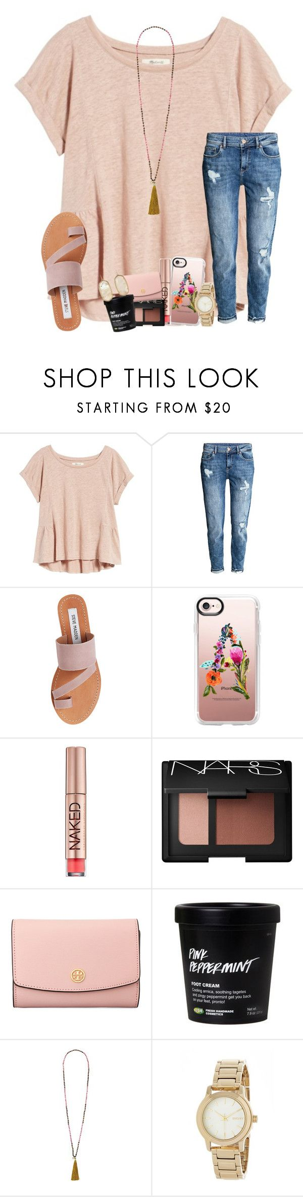 """one number away"" by karinaceleste ❤ liked on Polyvore featuring Madewell, Steve Madden, Casetify, Urban Decay, NARS Cosmetics, Tory Burch, French Connection, DKNY and Kendra Scott"