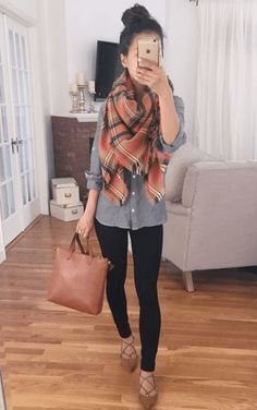 these lace up ballet flats and plaid scarf make such a cute fall outfit!