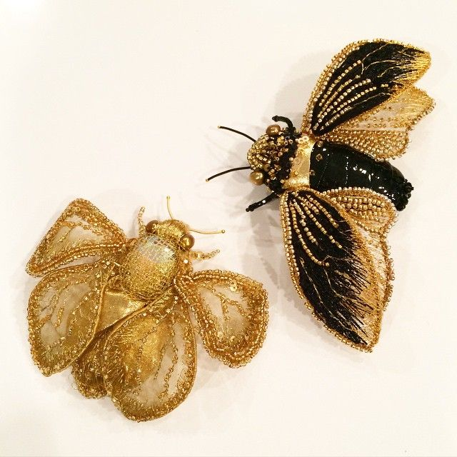 My beauties have arrived! Большое спасибо! @eveandersatelier они прелестны! #bugs #collectibles #brooch #beadwork #beading #handmade #gold #amazing