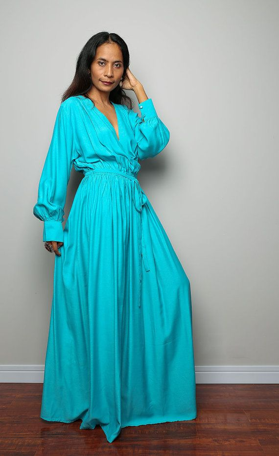 Aqua Dress  With Long Sleeves- Elegant Evening Maxi Dress : Joy of Spring Collection No.2