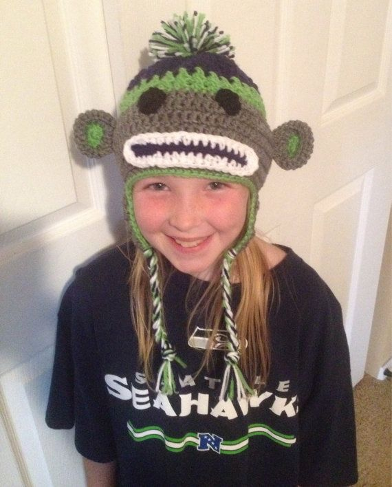 Seahawks Sock Monkey Crochet Adult Flap Hat by OceanGirlCreations