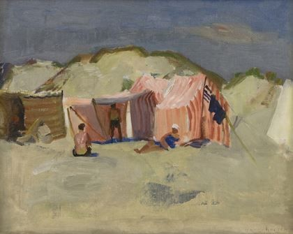 Henricus Johannes 'Harrie' Kuijten (1883-1952) Beach with tents and figures, oil on canvas 34,3 x 43,3 cm., signed l.r. Collection Simonis & Buunk, The Netherlands.