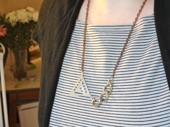 Mixed metal chain and triangle necklace by Kittycrabtree on Etsy, €10.00