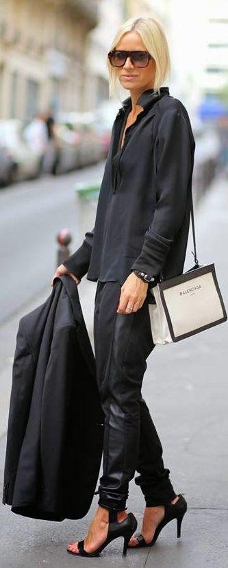 Balenciaga Black And White Chic Satchel Chain Shoulder Purse