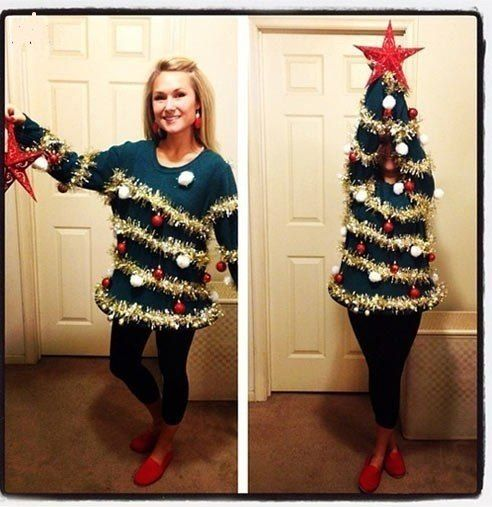 Woman-Christmas Tree - idea for next year's sweater...
