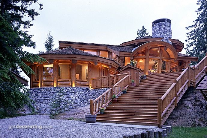 Log And Stone Home Cabin Life To Strive For Pinterest